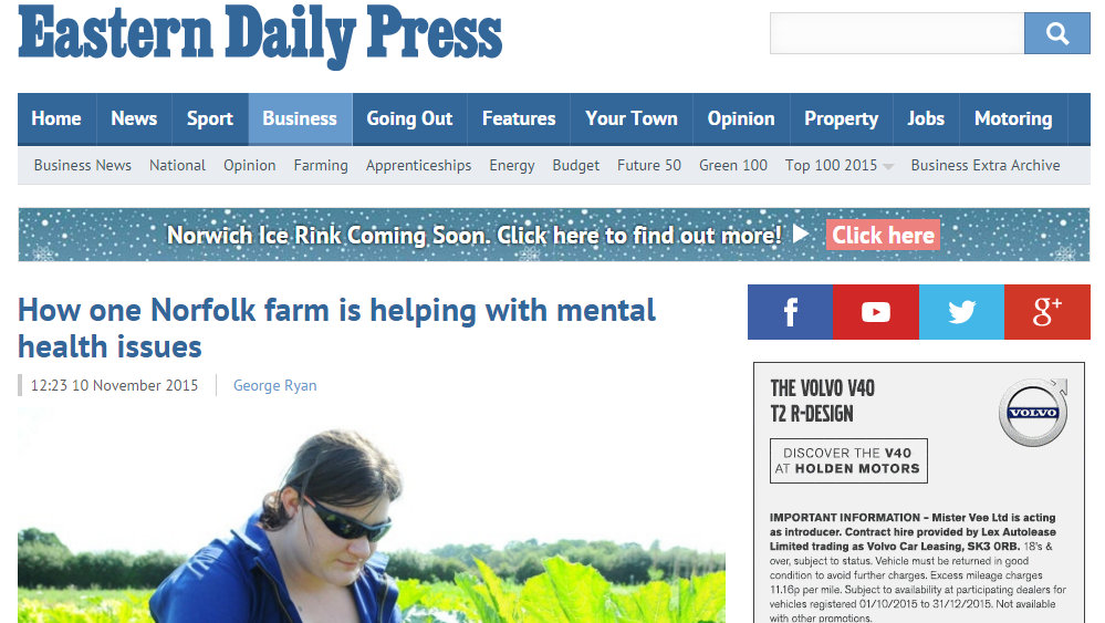 How one Norfolk farm is helping with mental health issues