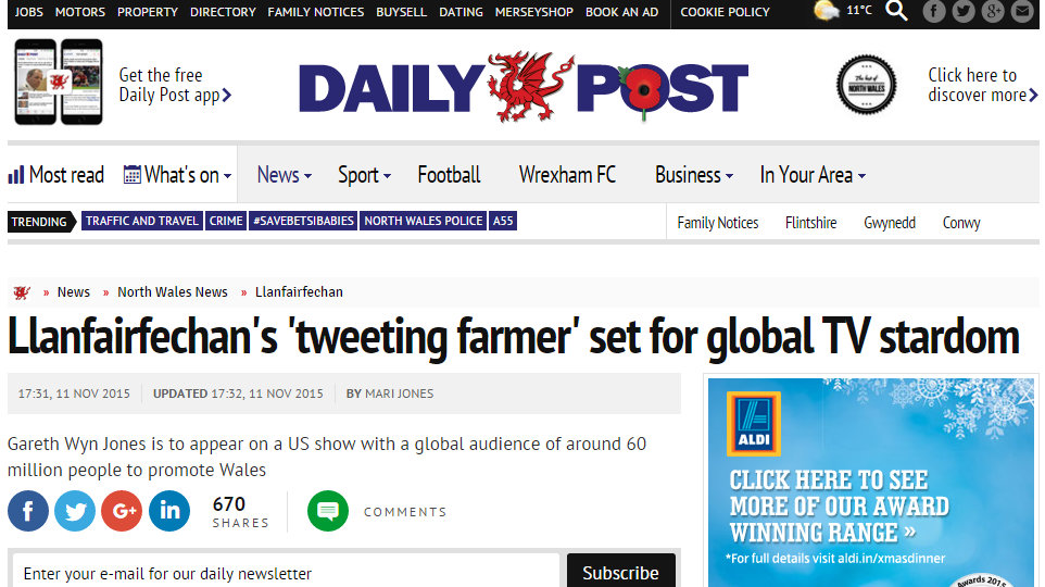 Llanfairfechan's 'tweeting farmer' set for global TV stardom