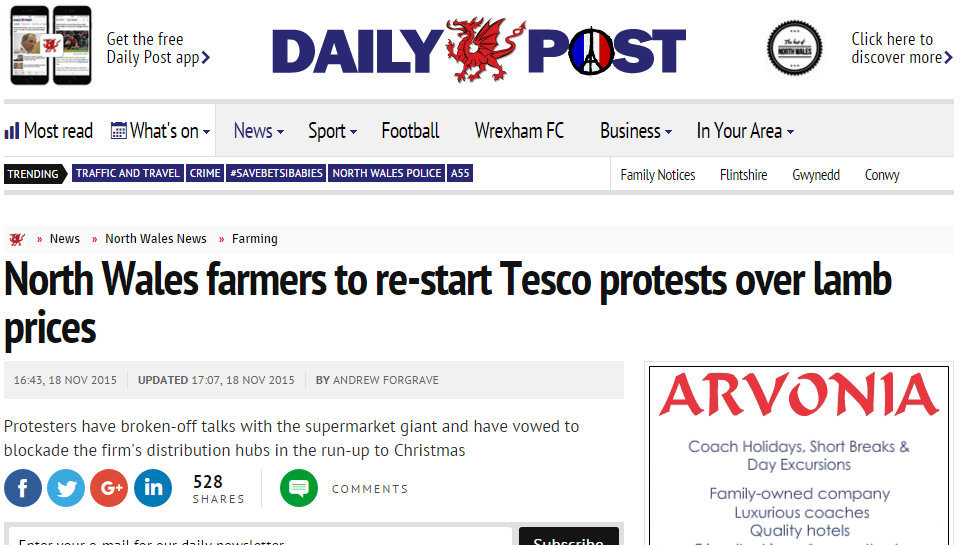 North Wales farmers to re-start Tesco protests over lamb prices