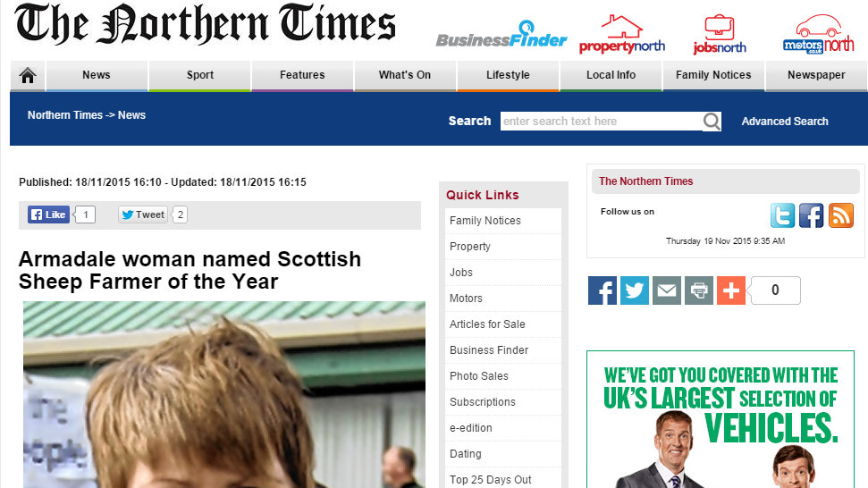 Armadale woman named Scottish Sheep Farmer of the Year