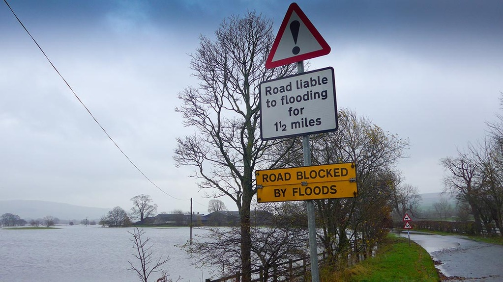 Farmland has been flooded as torrential rain hit Cumbria