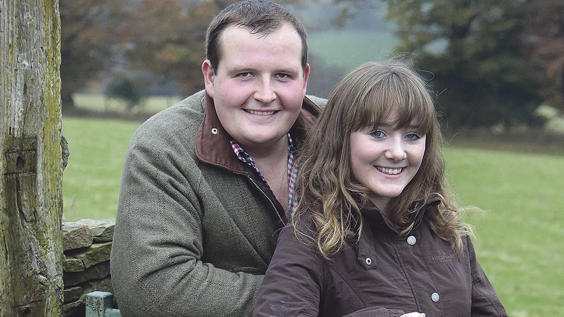 Aled Groucott, with his girlfriend Holly Jones at Swffryd Farm.