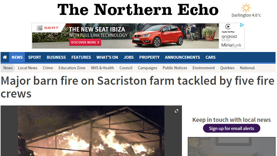 Major barn fire on Sacriston farm tackled by five fire crews
