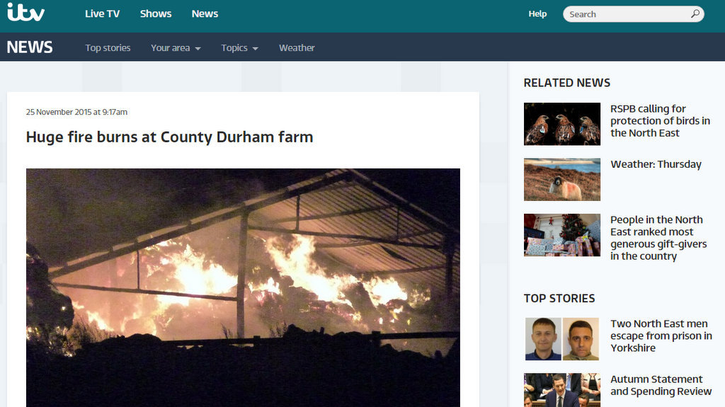 Huge fire burns at County Durham farm