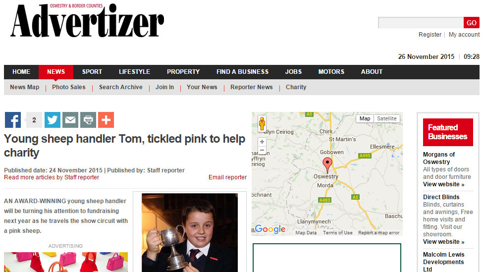 Young sheep handler Tom, tickled pink to help charity