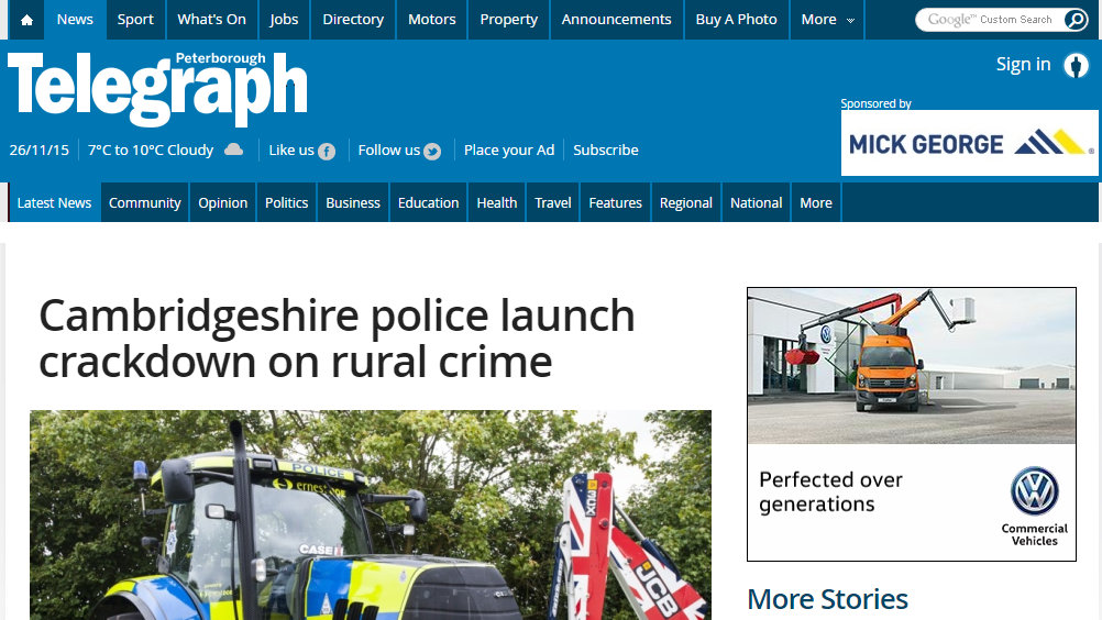 Cambridgeshire police launch crackdown on rural crime