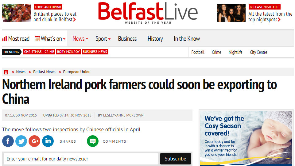 Northern Ireland pork farmers could soon be exporting to China