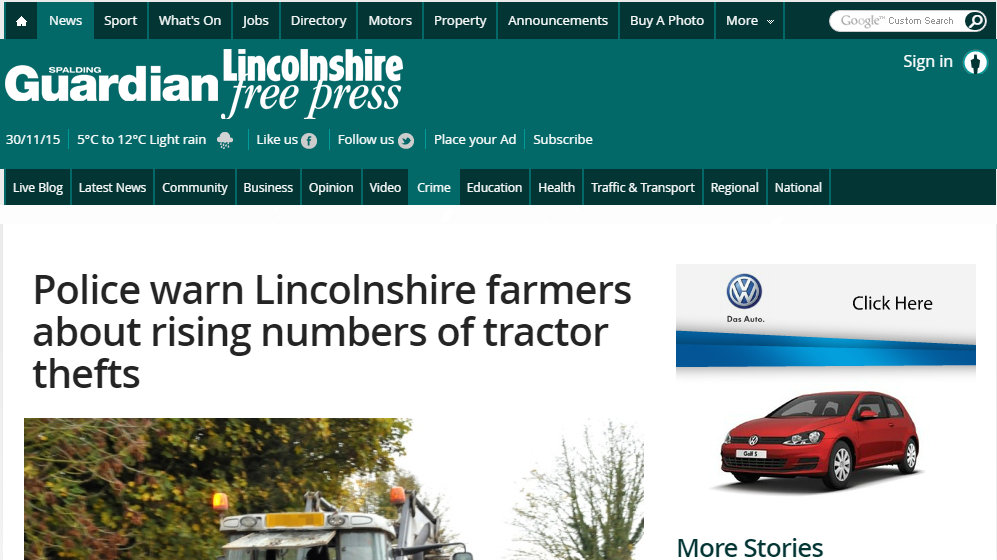 Police warn Lincolnshire farmers about rising numbers of tractor thefts
