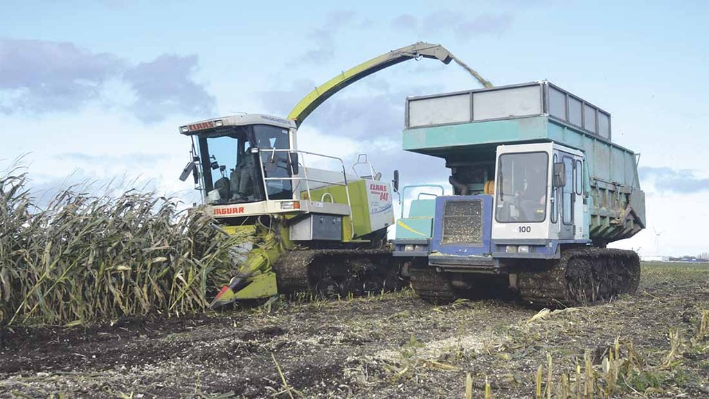 Modified Claas forager treads lightly
