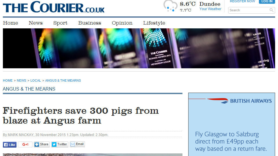 Firefighters save 300 pigs from blaze at Angus farm