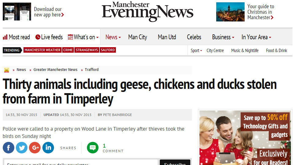 Thirty animals including geese, chickens and ducks stolen from farm in Timperley