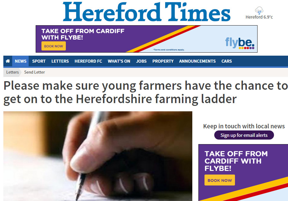 Please make sure young farmers have the chance to get on to the Herefordshire farming ladder