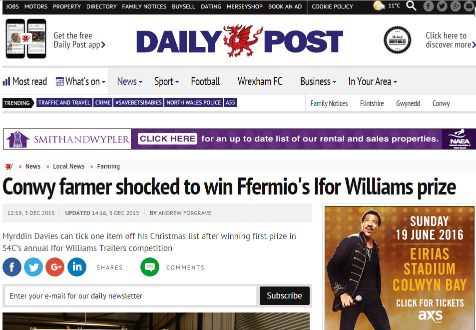 Conwy farmer shocked to win Ffermio's Ifor Williams prize