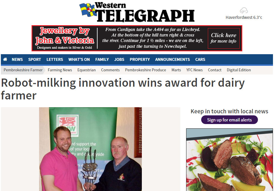 Robot-milking innovation wins award for dairy farmer