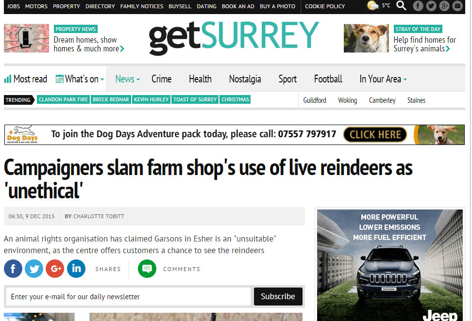 Campaigners slam farm shop's use of live reindeer as 'unethical'