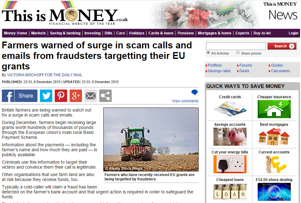 Farmers warned of surge in scam calls and emails from fraudsters targetting their EU grants