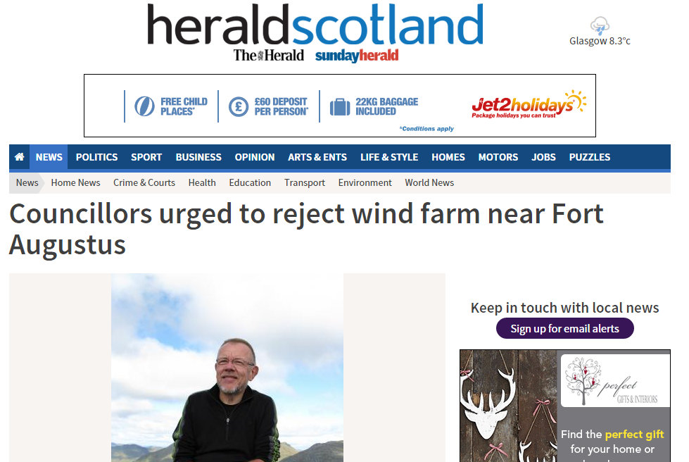 Councillors urged to reject wind farm near Fort Augustus