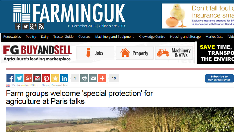 Farm groups welcome 'special protection' for agriculture at Paris talks