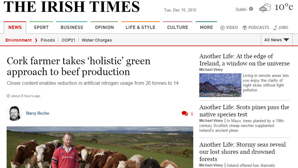 Cork farmer takes 'holistic' green approach to beef production