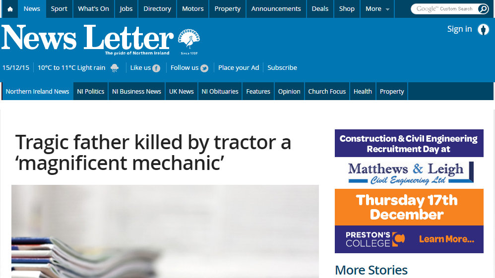 Tragic father killed by tractor a 'magnificent mechanic'