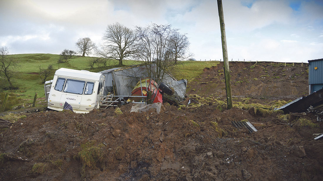 Farm buildings destroyed as 13,000 tonnes of soil rip through Cumbrian farm