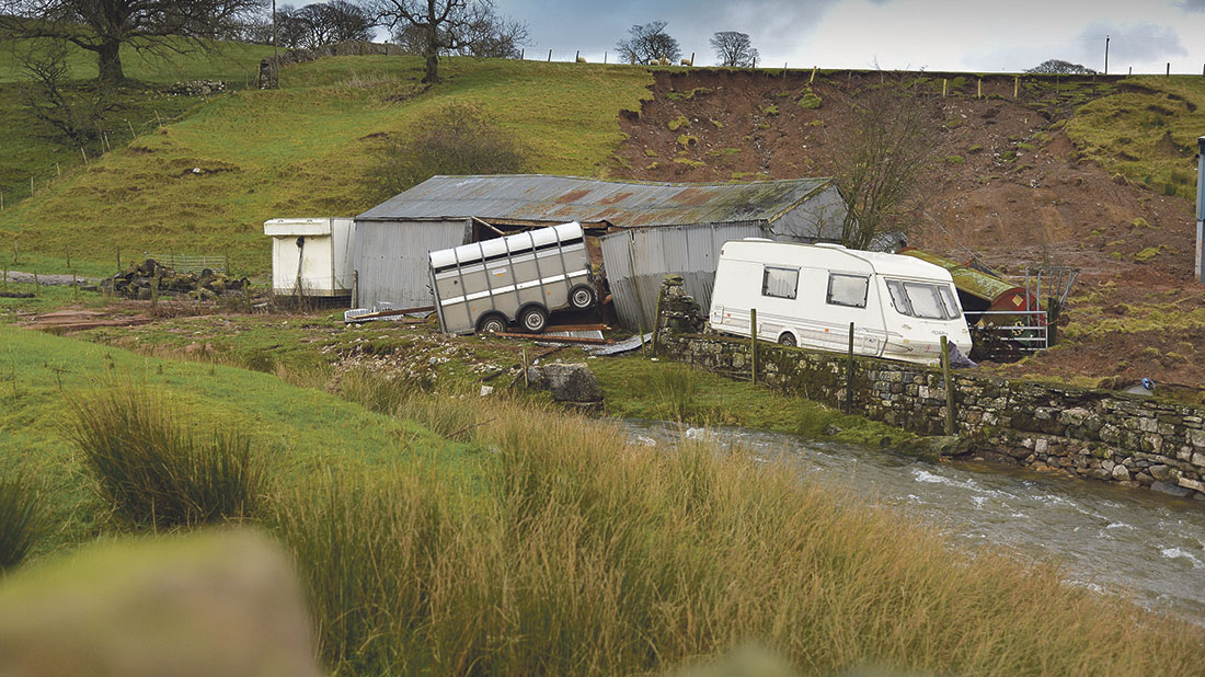 Landslide on Cumbrian farm following Storm Desmond