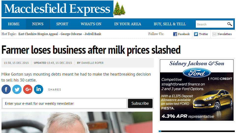 Farmer loses business after milk prices slashed