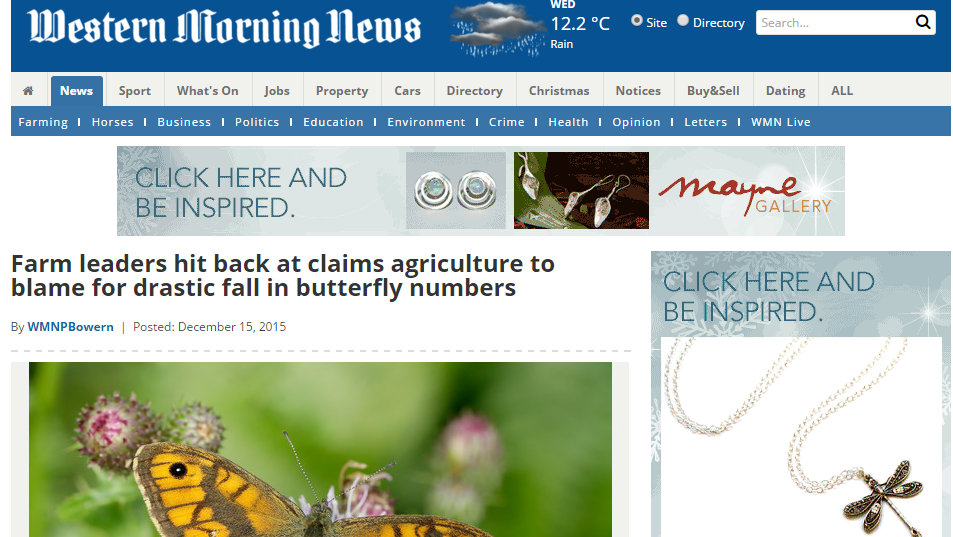 Farm leaders hit back at claims agriculture to blame for drastic fall in butterfly numbers