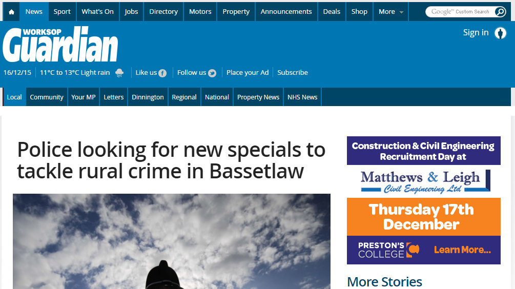 Police looking for new specials to tackle rural crime in Bassetlaw