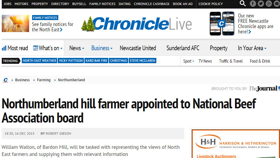 Northumberland hill farmer appointed to National Beef Association board
