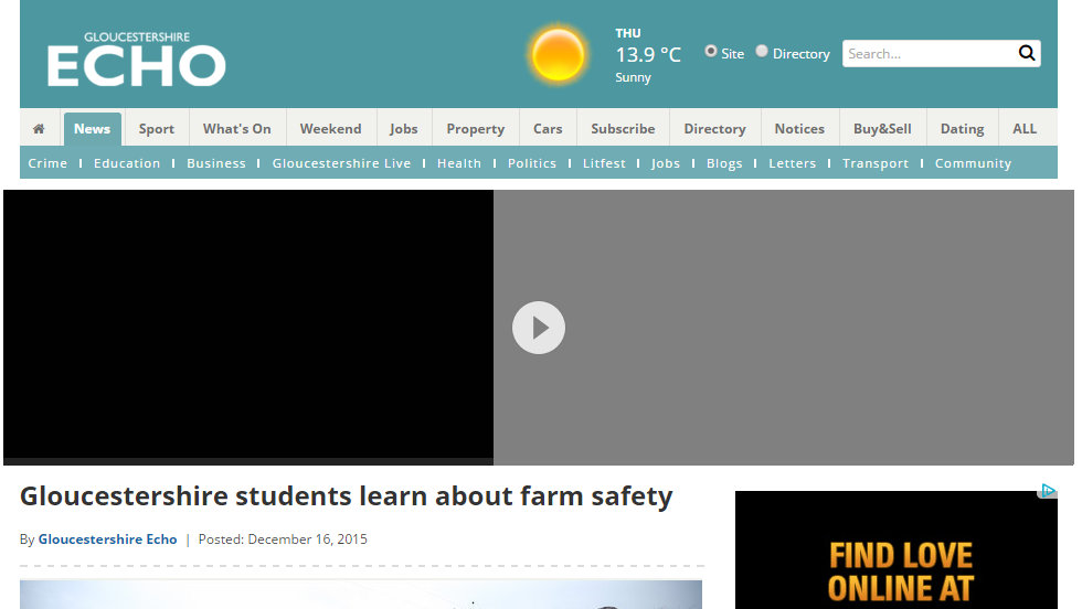 Gloucestershire students learn about farm safety