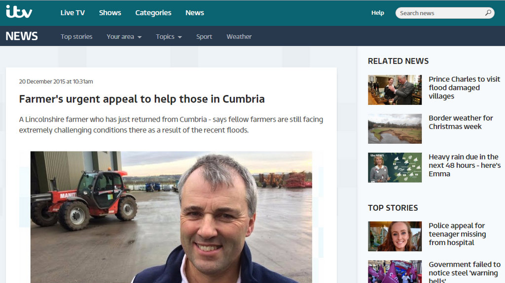 Farmer's urgent appeal to help those in Cumbria