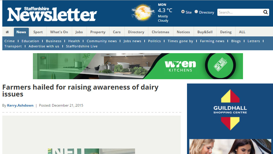 Farmers hailed for raising awareness of dairy issues
