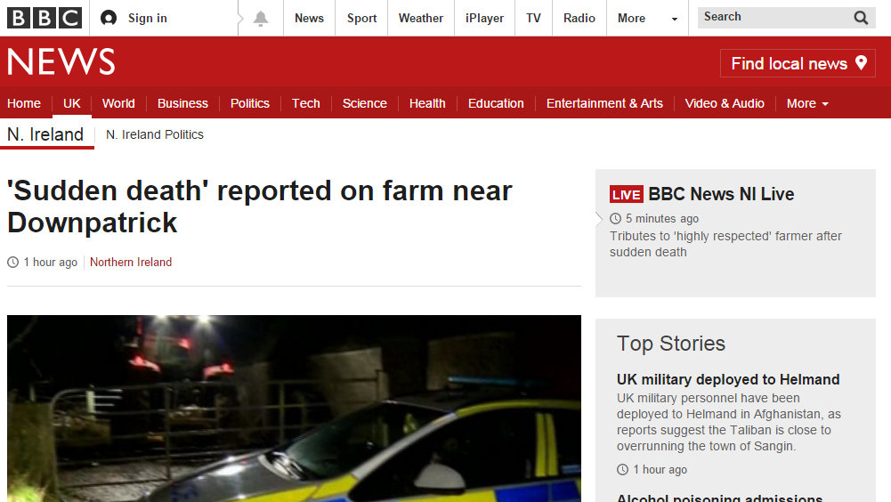 'Sudden death' reported on farm near Downpatrick