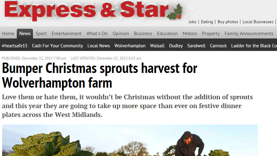 Bumper Christmas sprouts harvest for Wolverhampton farm