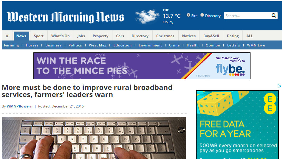More must be done to improve rural broadband services, farmers' leaders warn