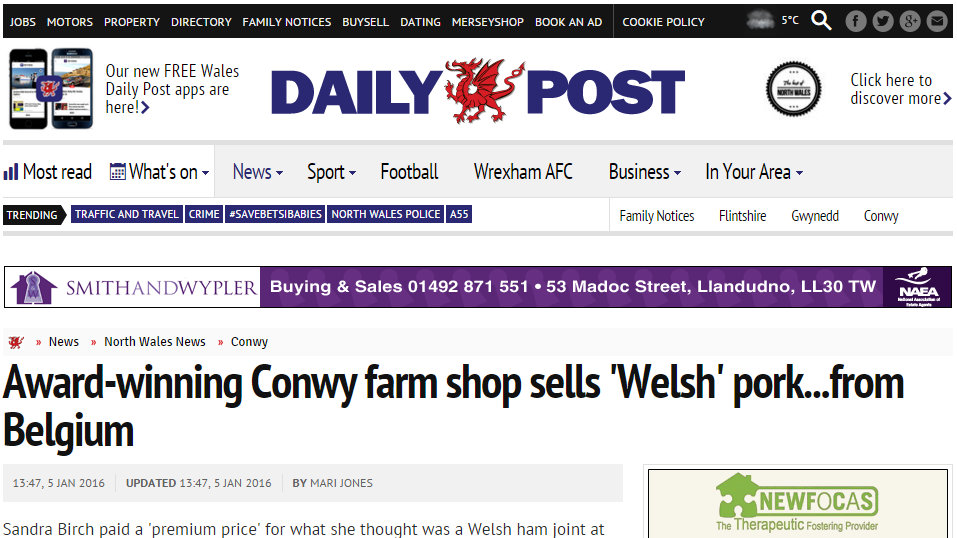 Award-winning Conwy farm shop sells 'Welsh' pork...from Belgium