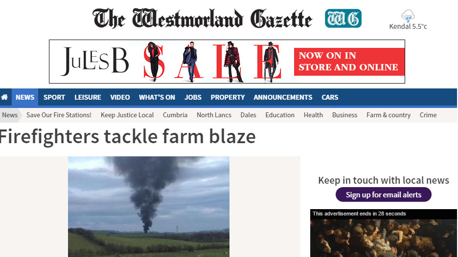 Firefighters tackle farm blaze