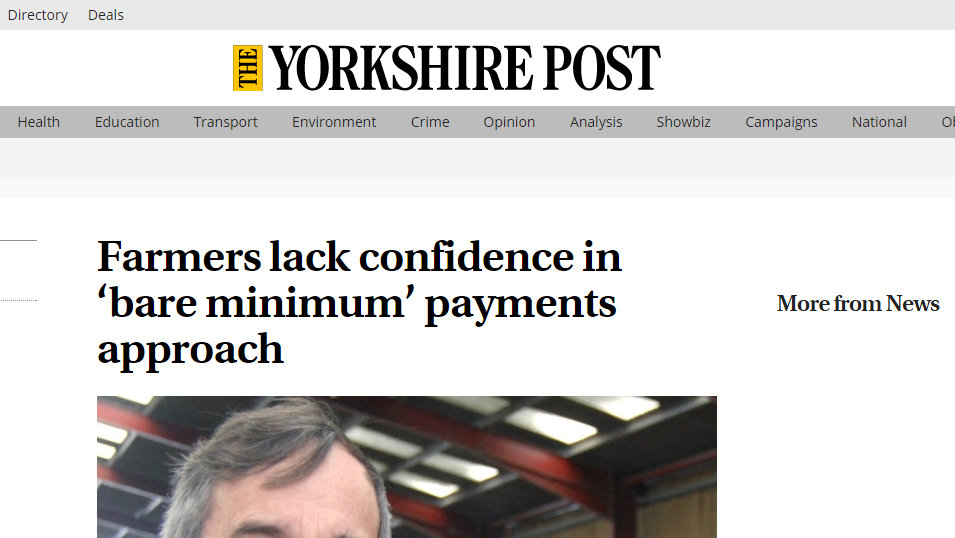 Farmers lack confidence in 'bare minimum' payments approach
