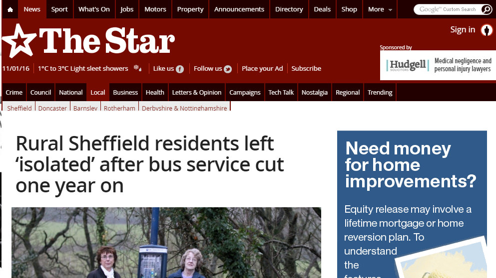 Rural Sheffield residents left 'isolated' after bus service cut one year on