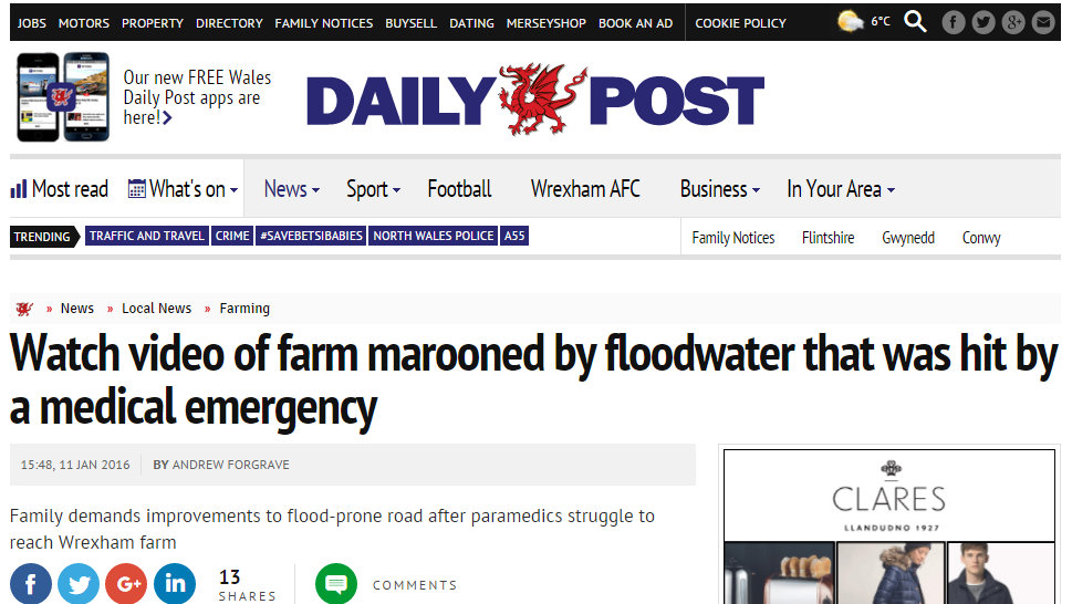 Watch video of farm marooned by floodwater that was hit by a medical emergency