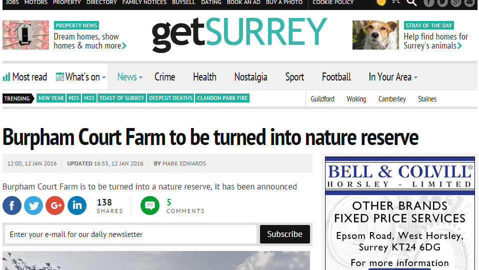 Burpham Court Farm to be turned into nature reserve