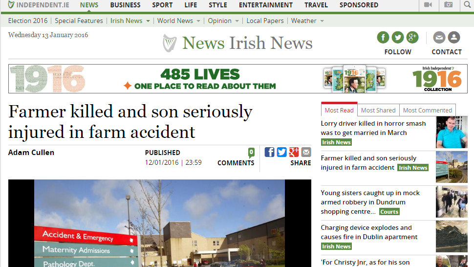 Farmer killed and son seriously injured in farm accident