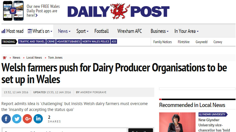 Welsh farmers push for Dairy Producer Organisations to be set up in Wales