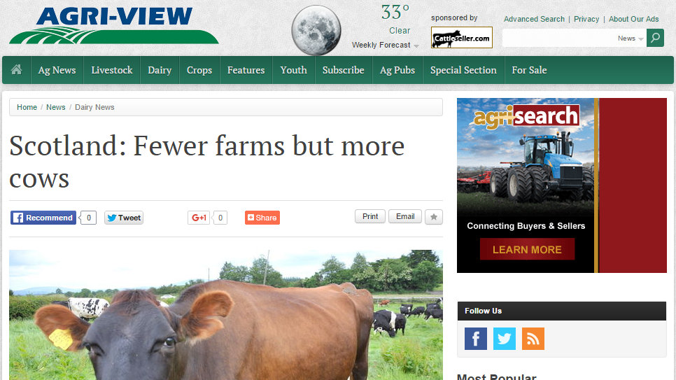 Scotland: Fewer farms but more cows