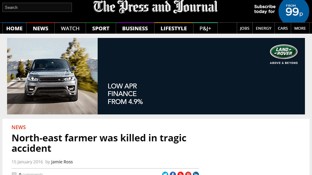 North-east farmer was killed in tragic accident