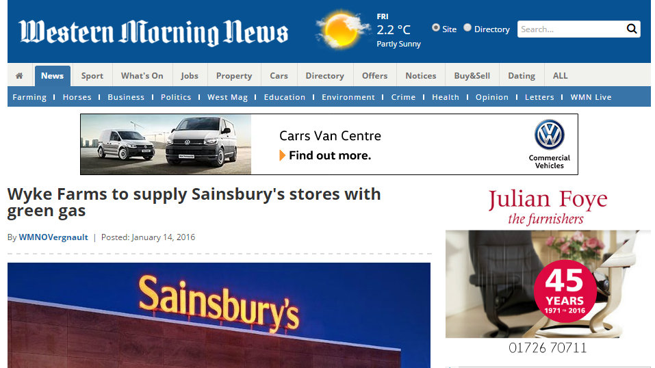 Wyke Farms to supply Sainsbury's stores with green gas