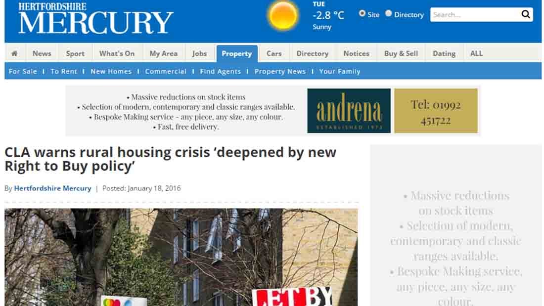 CLA warns rural housing crisis 'deepened by new Right to Buy policy'