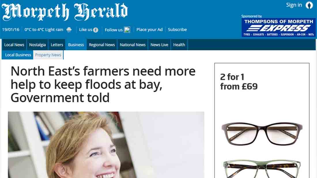 North East's farmers need more help to keep floods at bay, Government told