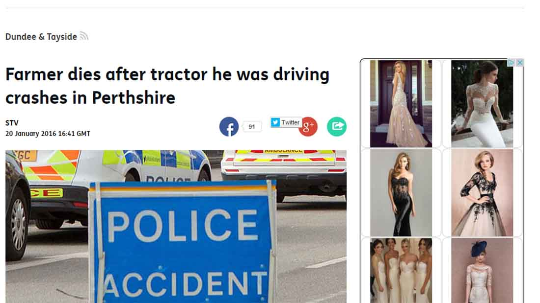 Farmer dies after tractor he was driving crashes in Perthshire